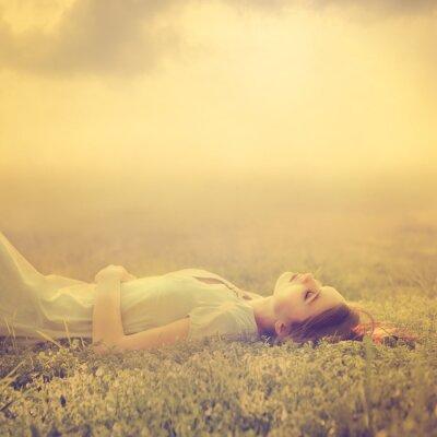 Cuadro jóvenes hermosas chica sueña tendido en un prado en la primavera de magia