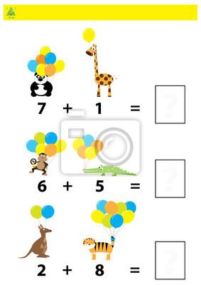 Juego de conteo educativo matemático para niños / una hoja de ...