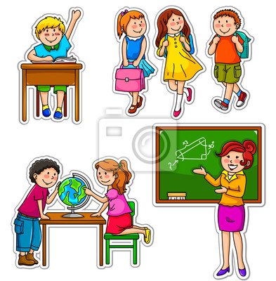 Juego de los niños y maestros en la escuela pinturas para la pared ...