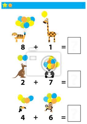 Juego de matemáticas para niños / hoja de trabajo colorida con ...