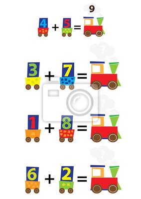 Juego de matemáticas para niños / una hoja de trabajo / añadir ...