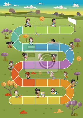 Juego De Mesa Con Alegres Dibujos Animados Ninos Jugando En El