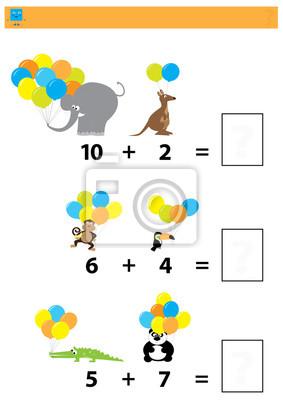 Juego educativo matemático para niños / hoja de trabajo colorida ...