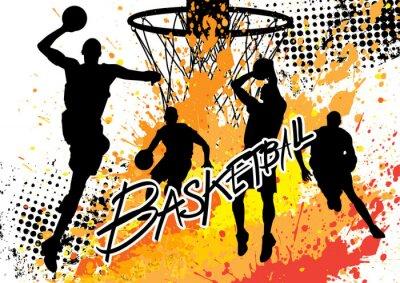Cuadro jugador de baloncesto del equipo en el fondo blanco del grunge