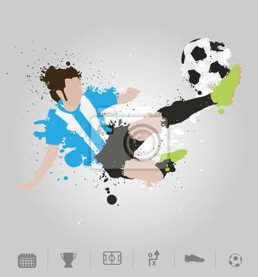 Jugador De Fútbol Patea La Pelota Con Diseño De La Salpicadura