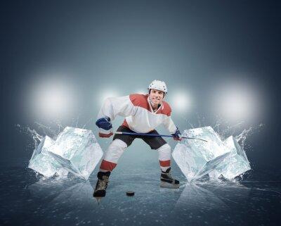 Cuadro Jugador de hockey con cubitos de hielo