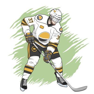 Cuadro jugador de hockey sobre hielo blanco