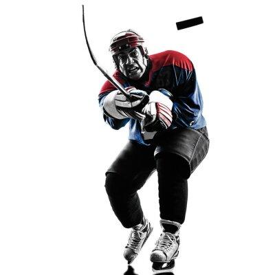 Cuadro Jugador de hockey sobre hielo de la silueta que