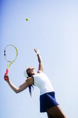 Cuadro Jugador de tenis femenino hermoso que sirve