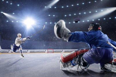 Cuadro Jugadores de hockey disparan el puck y los ataques