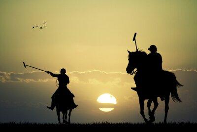 Cuadro jugadores de polo a caballo