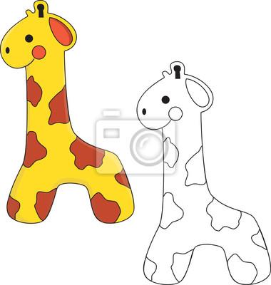 Juguete lindo de la jirafa. libro para colorear. vector pinturas ...
