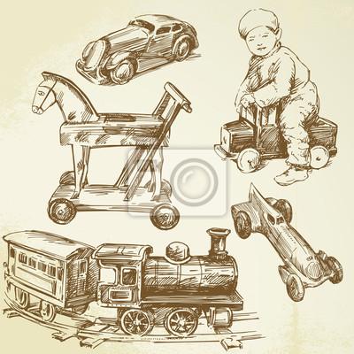 juguetes antiguos - conjunto de dibujado a mano