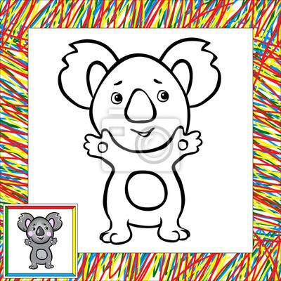 Koala De Dibujos Animados Para Colorear Libro Con La Frontera