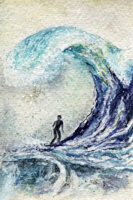 Cuadro La acuarela de la persona que practica surf y la onda grande. Hombre de surf abstracto