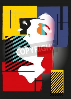 Cuadro La chica en el estilo de un cubismo. Cuadrados, pinturas, fondo negro
