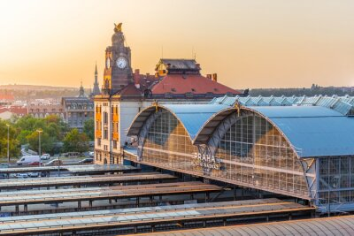 Cuadro La estación principal de trenes de Praga, Hlavni nadrazi, Praga, República Checa