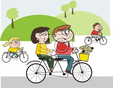 La Familia Feliz En Bicicleta De Dibujos Animados Pinturas Para La