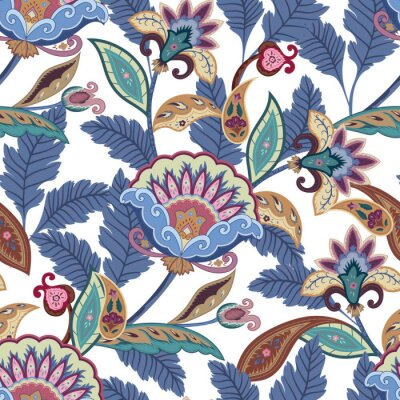 Cuadro La fantasía florece el modelo inconsútil de Paisley. Ornamento floral, para la tela, envoltura, papel pintado