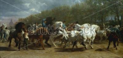 Cuadro LA FERIA DEL CABALLO, por Rosa Bonheur, 1852-55, pintura francesa, óleo sobre lienzo. El mercado de caballos en París en el Boulevard de lx90Hopital se pintó durante un período de 3 años. Al dibujar e
