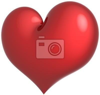 La forma del corazón en el Amor símbolo clásico de color rojo. Sentimiento romántico