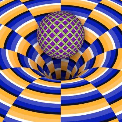 Cuadro La ilusión óptica de la bola está cayendo en un agujero. Fondo abstracto.