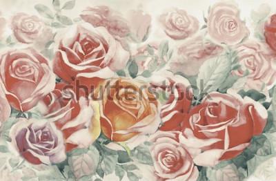 Cuadro La ilustración pintó las flores de primavera colorido ramo de rosas en el jardín y la emoción en vintage realista con fondo azul abstracto, pintura original de paisaje de acuarela, para tarjetas de fe