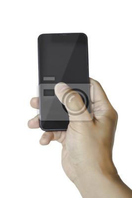 La mano derecha sostiene un smartphone aislado en blanco