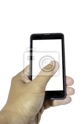 La mano izquierda sostiene un smartphone aislado en blanco