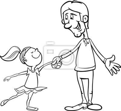 La Página De Padre E Hija Para Colorear Pinturas Para La Pared