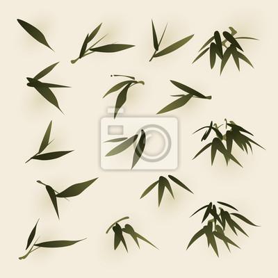 La pintura de estilo oriental, las hojas de bambú pinturas para la ...