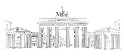 Cuadro La puerta de Brandenburgo. Símbolo del arco de Berlín. Dibujado a mano dibujo a lápiz ilustración vectorial aisladas sobre fondo blanco