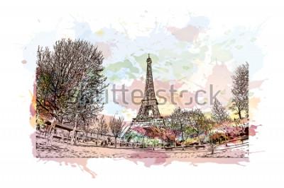 Cuadro La Torre Eiffel es una torre de celosía de hierro forjado en el Campo de Marte en París, Francia. Chapoteo de la acuarela con el ejemplo dibujado mano del bosquejo en vector.