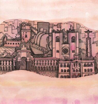 Cuadro La vista panorámica de la ciudad de lisboa mano dibujada en el papel tapiz aislado en el fondo de color