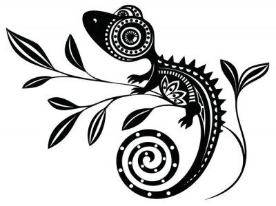 Cuadro Lagarto en una branch.pattern. Chameleon.tattoo.