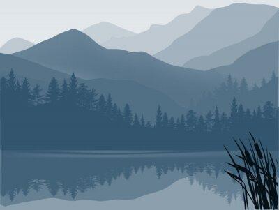 Cuadro lago azul y gris en el bosque de montaña