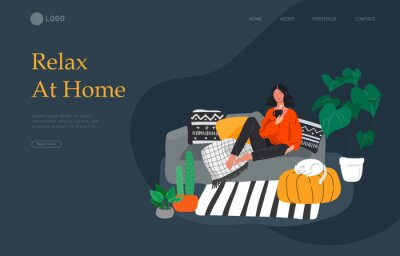 Cuadro Landing page template with girl sitting and resting on the couch with a cat and coffee. Daily life and everyday routine scene by young woman in scandinavian style cozy. Cartoon vector