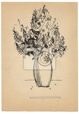 Lápiz De Dibujo Boceto Ramo De Flores En El Papel Viejo Pinturas