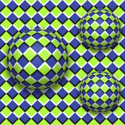 Cuadro Las bolas ruedan hacia abajo. Resumen patrón de vectores sin fisuras con la ilusión óptica de movimiento.