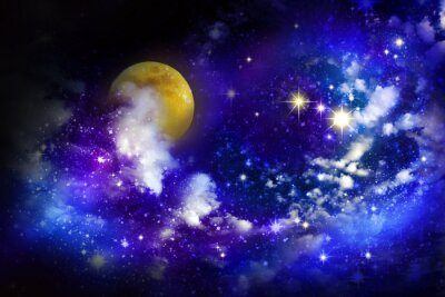 Cuadro Las estrellas y la luna llena en el cielo nocturno.