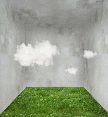 Cuadro Las nubes y la hierba en una habitación