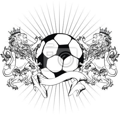 León Escudo Heráldico Tatuaje Pelota De Fútbol Camiseta Pinturas