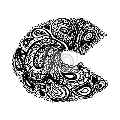Letra C Alfabeto Decorativo Con Un Paisley Zen Doodle Tatuaje