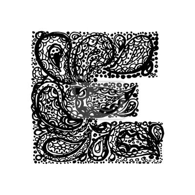 Letra E Alfabeto Decorativo Con Un Tatuaje Zen De Paisley Zócalo