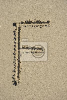 letra F alfabeto arena
