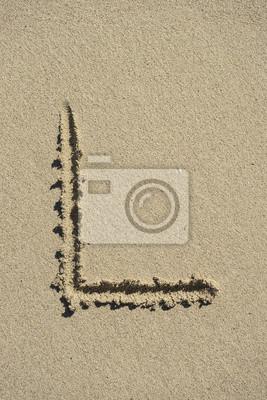 letra L arena alfabeto