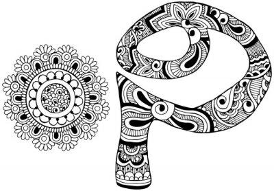 Cuadro Letra P decorada al estilo de mehndi