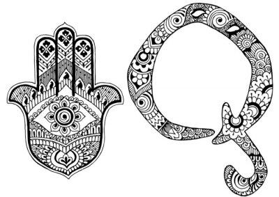 Cuadro Letra Q decorada al estilo de mehndi