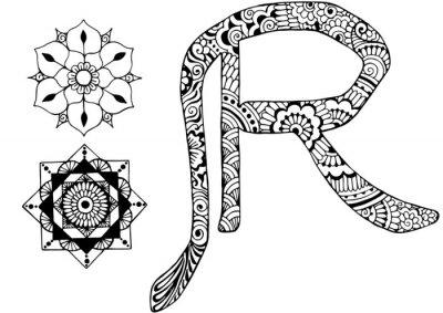 Cuadro Letra R decorada al estilo de mehndi