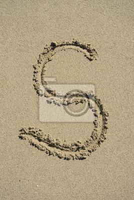 letra S alfabeto arena